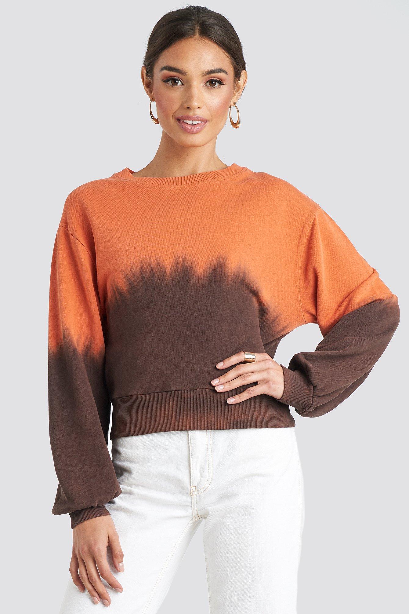 na-kd -  Tie Dye Oversized Cropped Sweatshirt - Brown,Orange