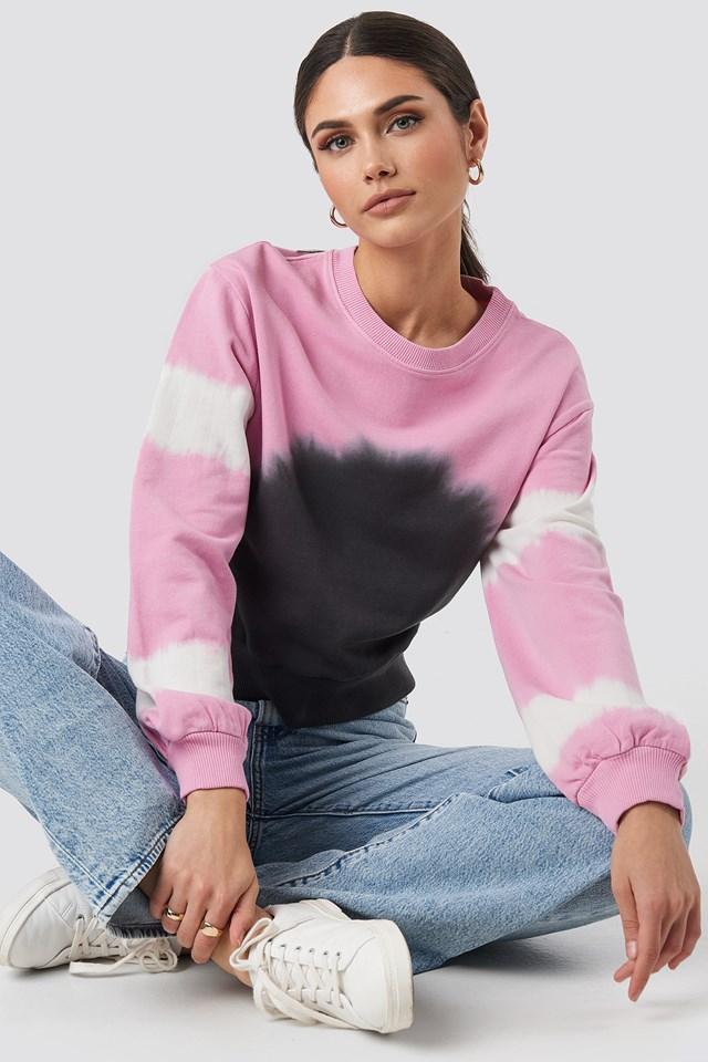 Tie Dye Oversized Cropped Sweatshirt Pink