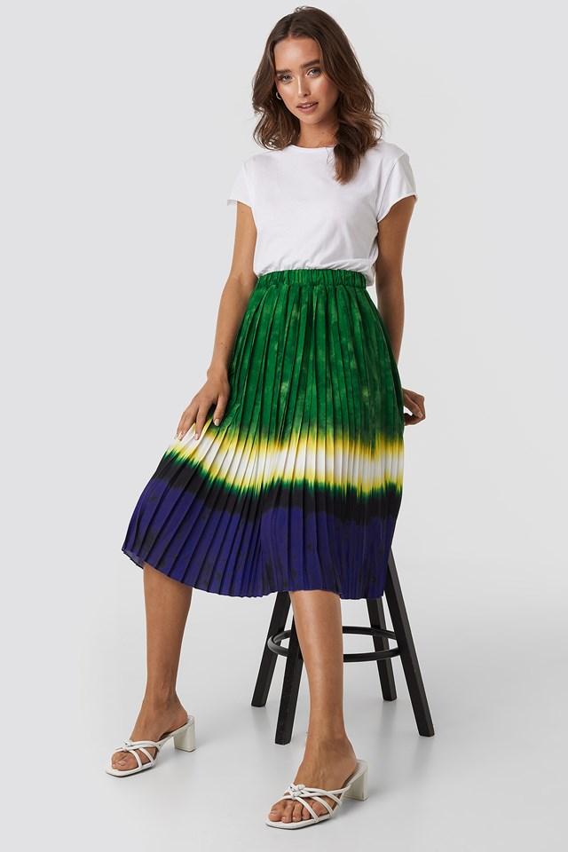 Tie Dye Print Pleated Midi Skirt Green