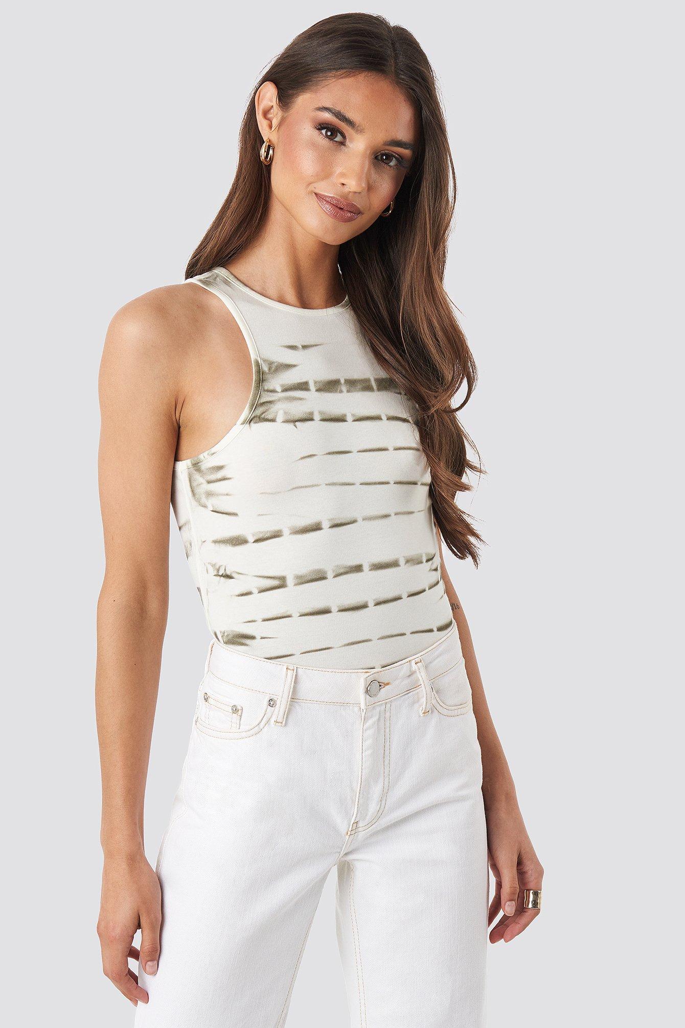 na-kd trend -  Tie Dye Tank Top - White,Multicolor