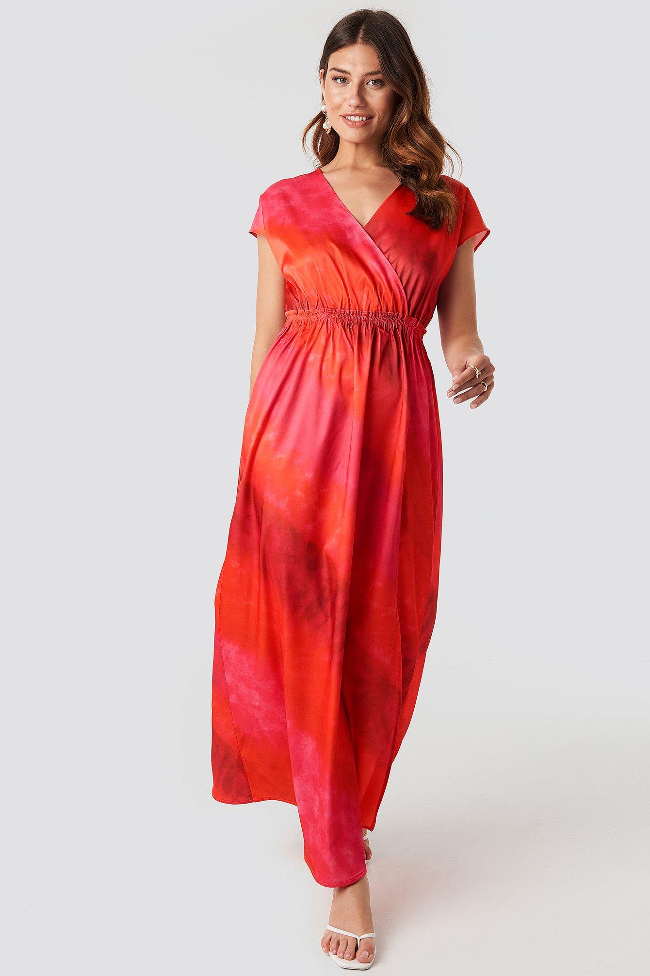 na-kd -  Tie Dye Wrap Maxi Dress - Red