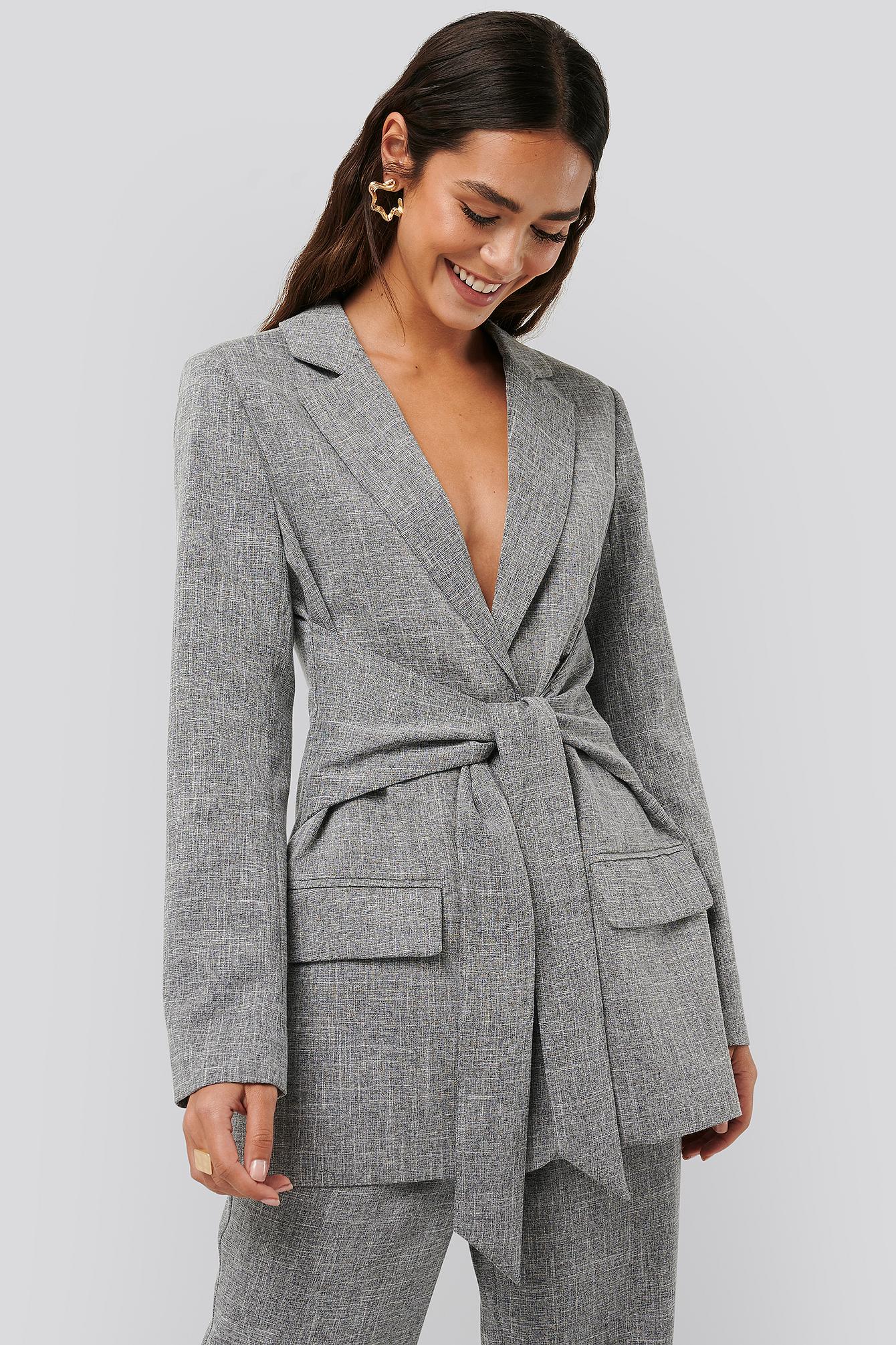 na-kd classic -  Tie Front Blazer - Grey