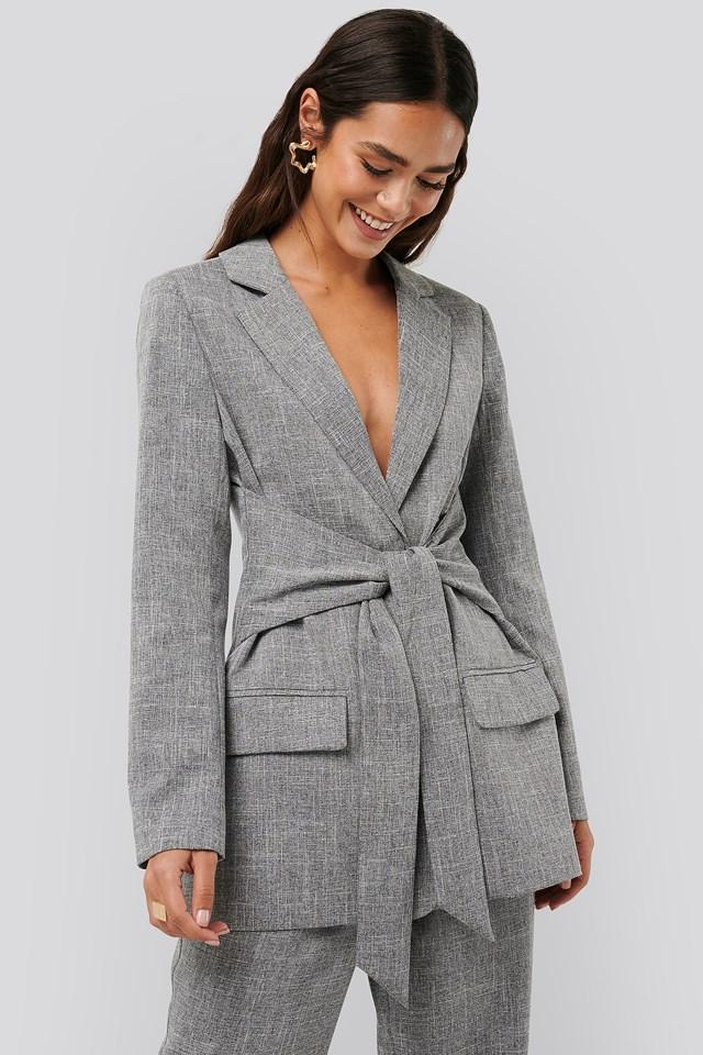 Tie Front Blazer Grey