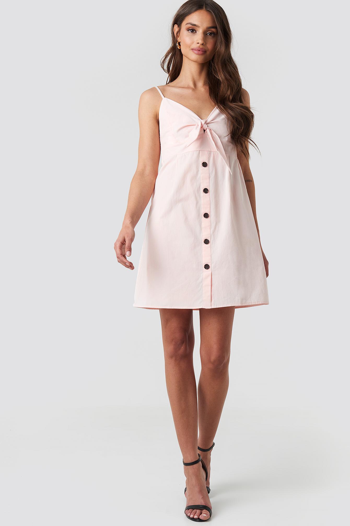 Tie Front Button Mini Dress NA-KD.COM