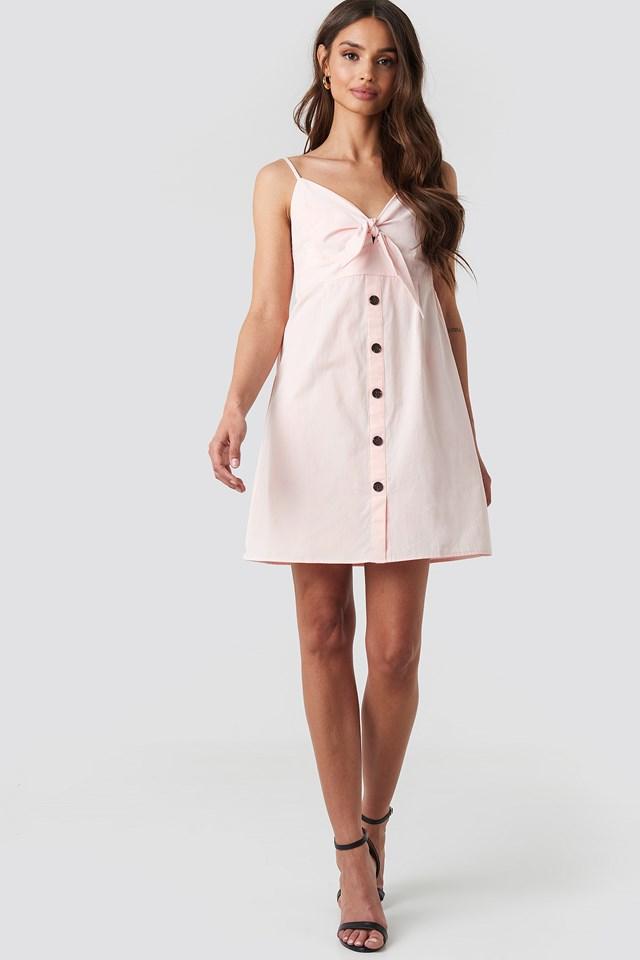 Tie Front Button Mini Dress Pink