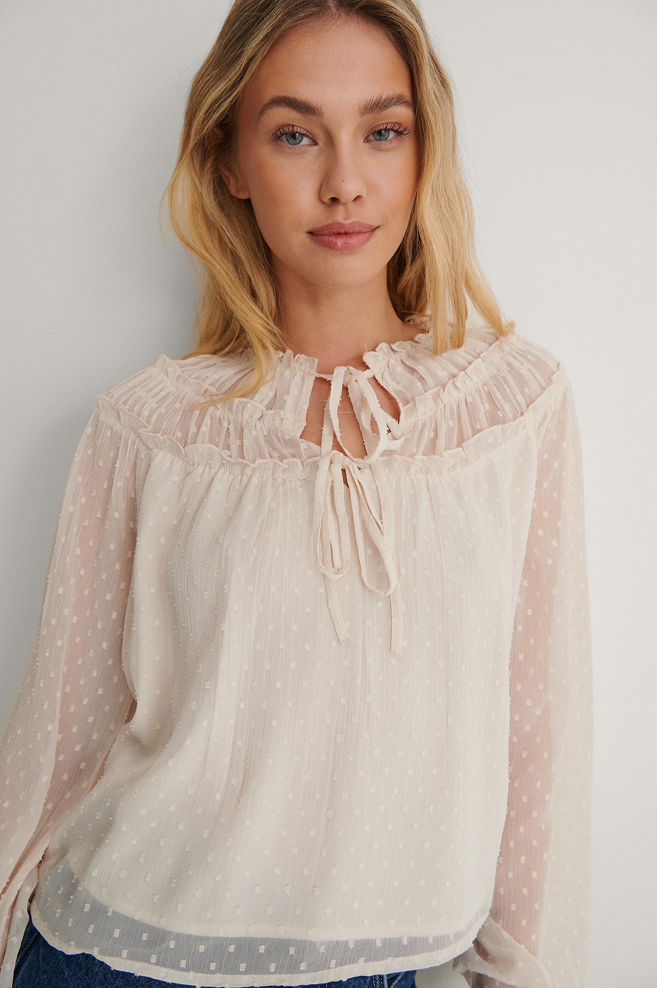 Offwhite Tie Front Dobby Blouse