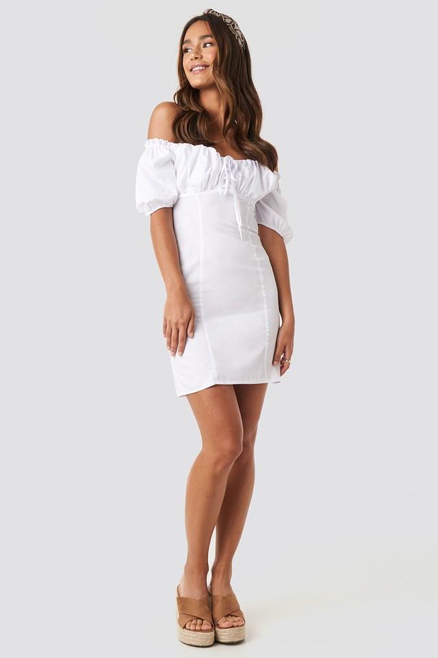 Tie Front Off Shoulder Mini Dress White