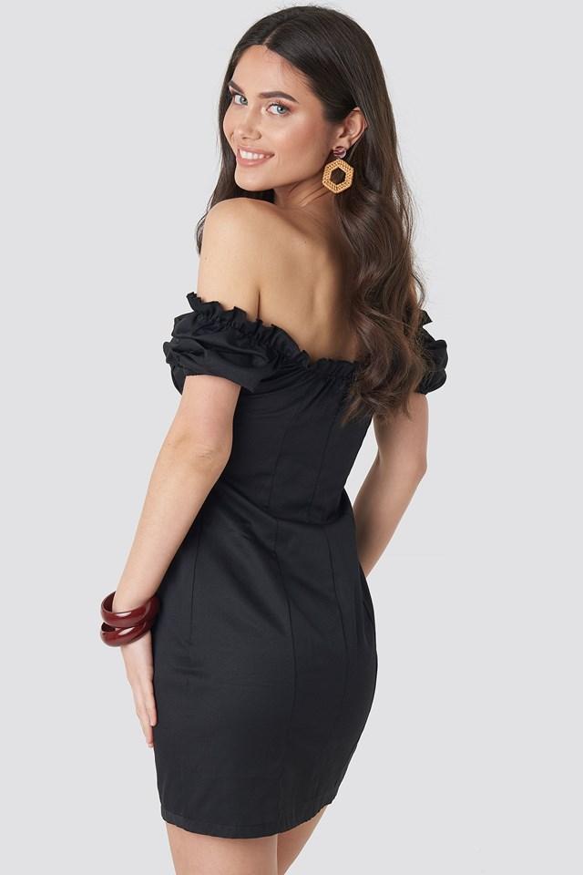 Tie Front Off Shoulder Mini Dress Black