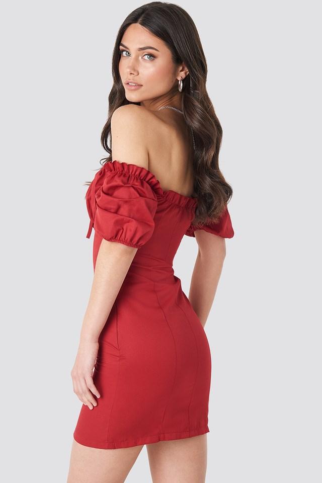 Tie Front Off Shoulder Mini Dress Red