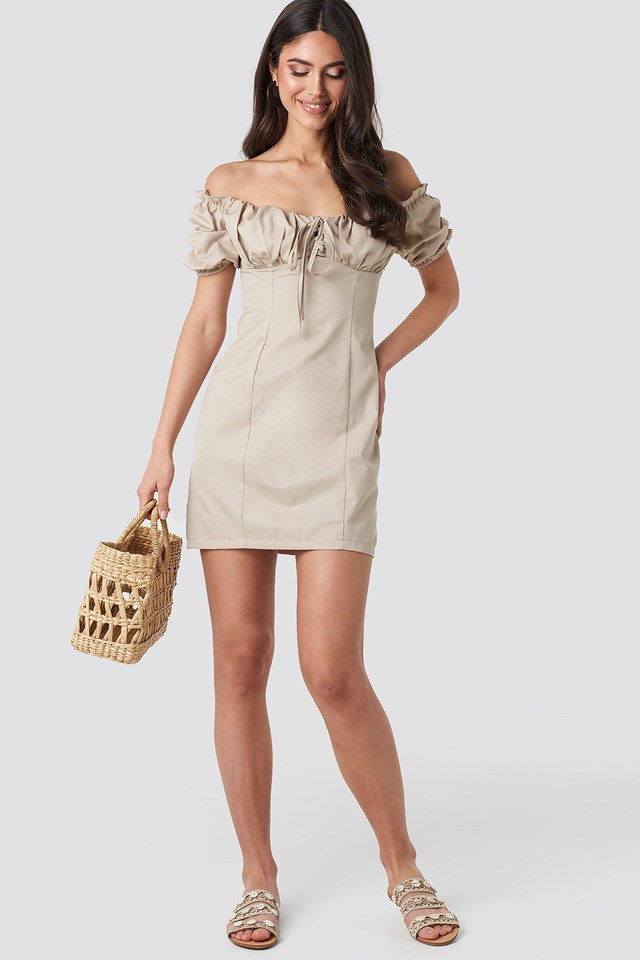 Tie Front Off Shoulder Mini Dress Beige