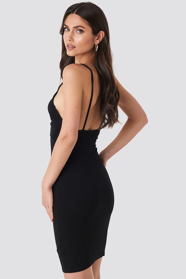Tie Front Ribbed Midi Dress Black