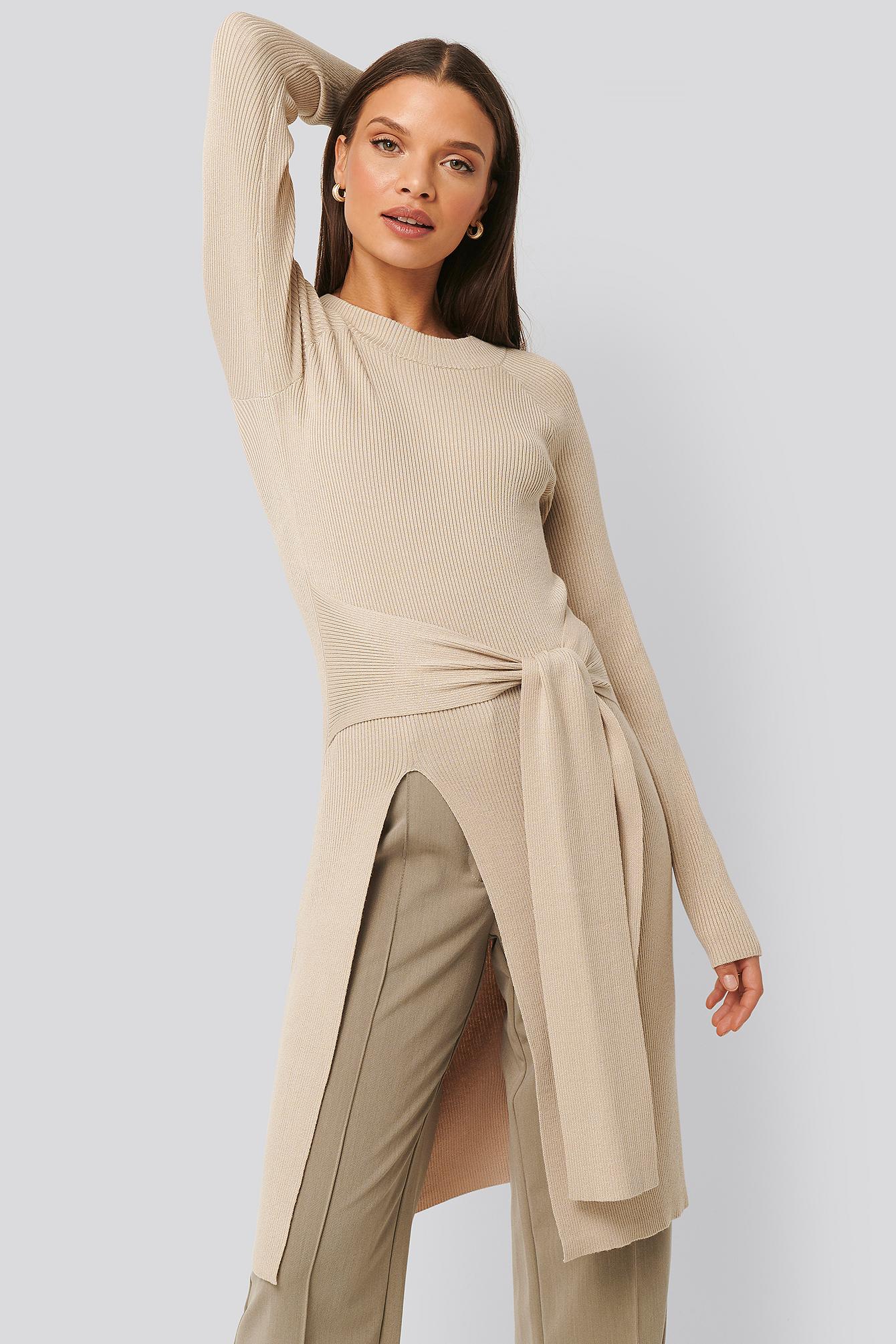 na-kd trend -  Gerippter Pullover - Beige