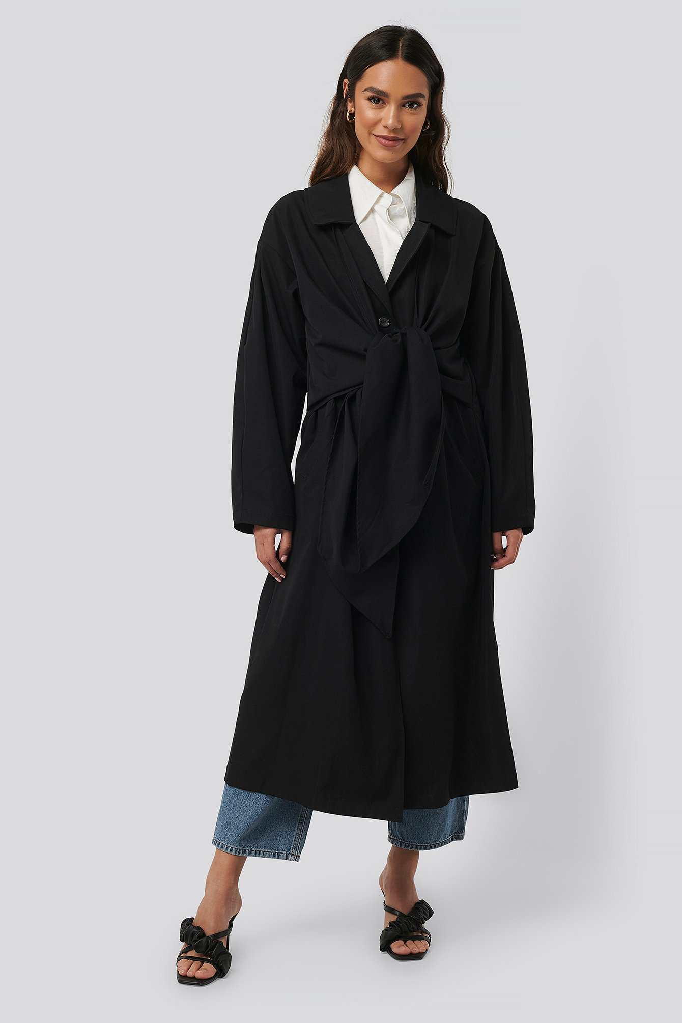 na-kd trend -  Tie Front Trench Coat - Black