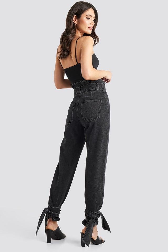 Tie Hem Paperbag Waist Jeans Black Stone Wash