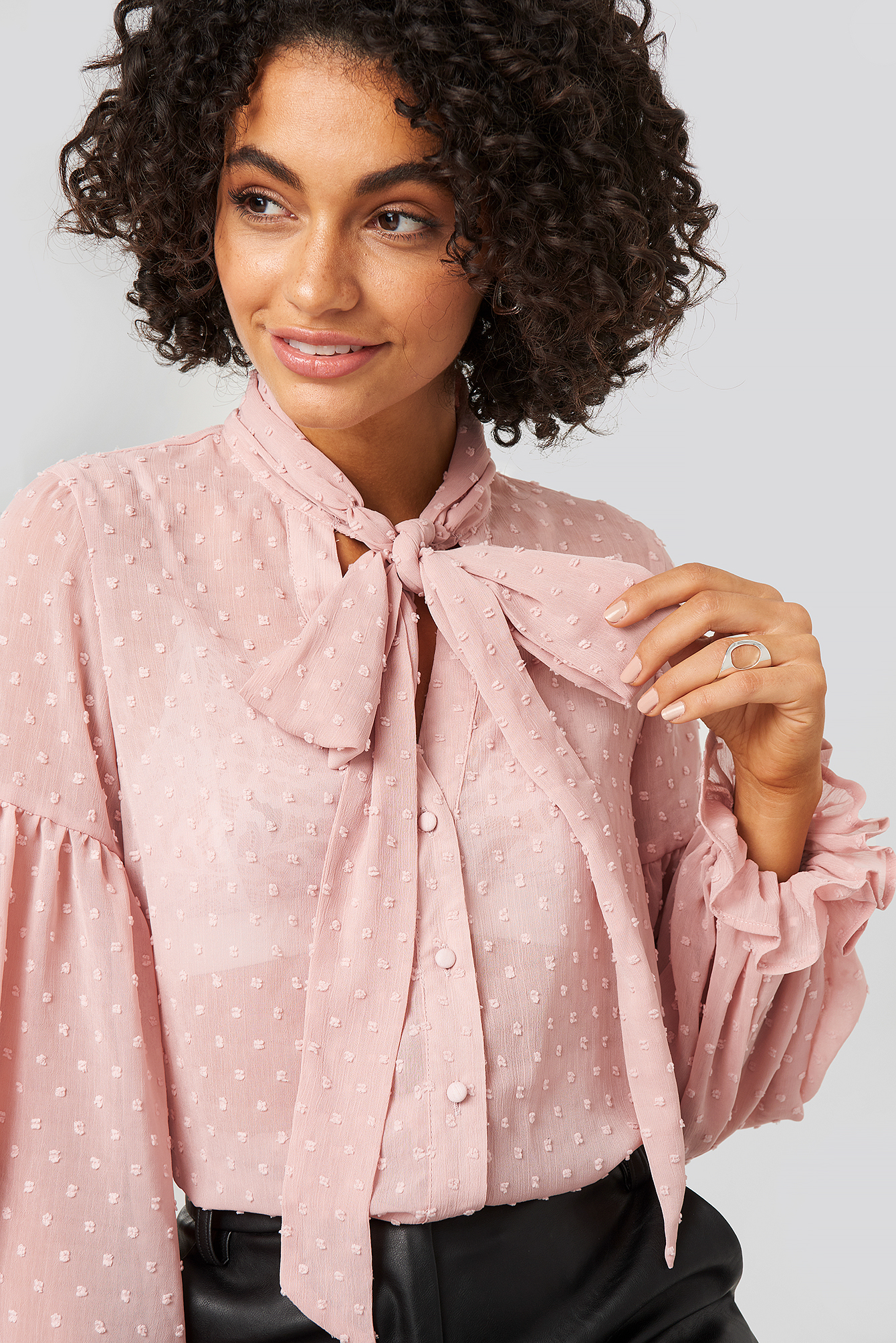 Dark Dusty Pink Tie Neck Dobby Blouse