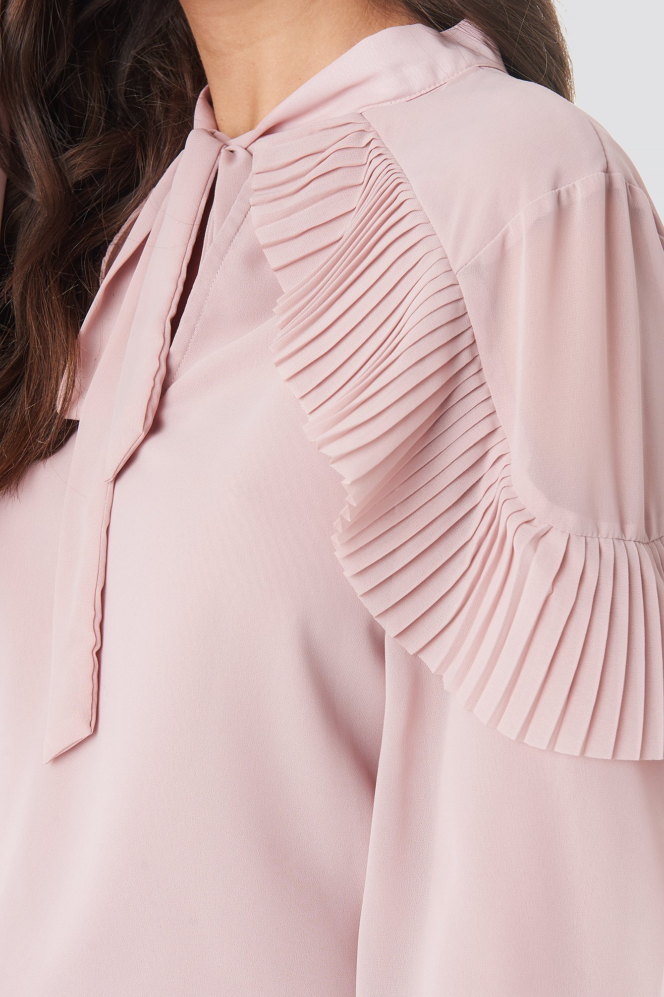 Powder Pink Tie Neck Layered Sleeve Blouse