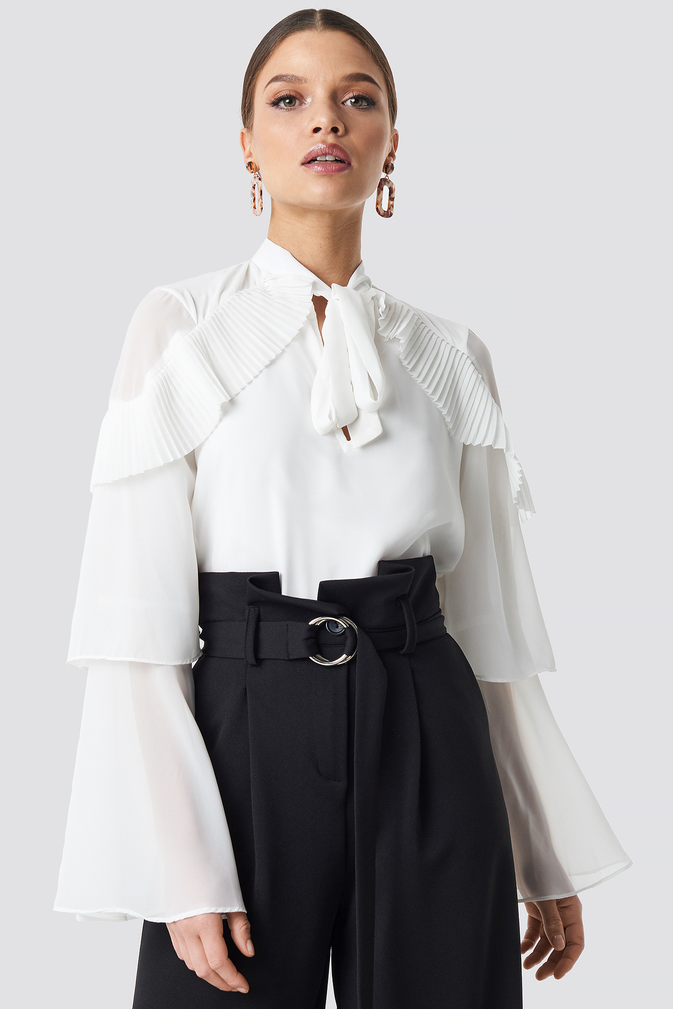 Tie Neck Layered Sleeve Blouse NA-KD.COM