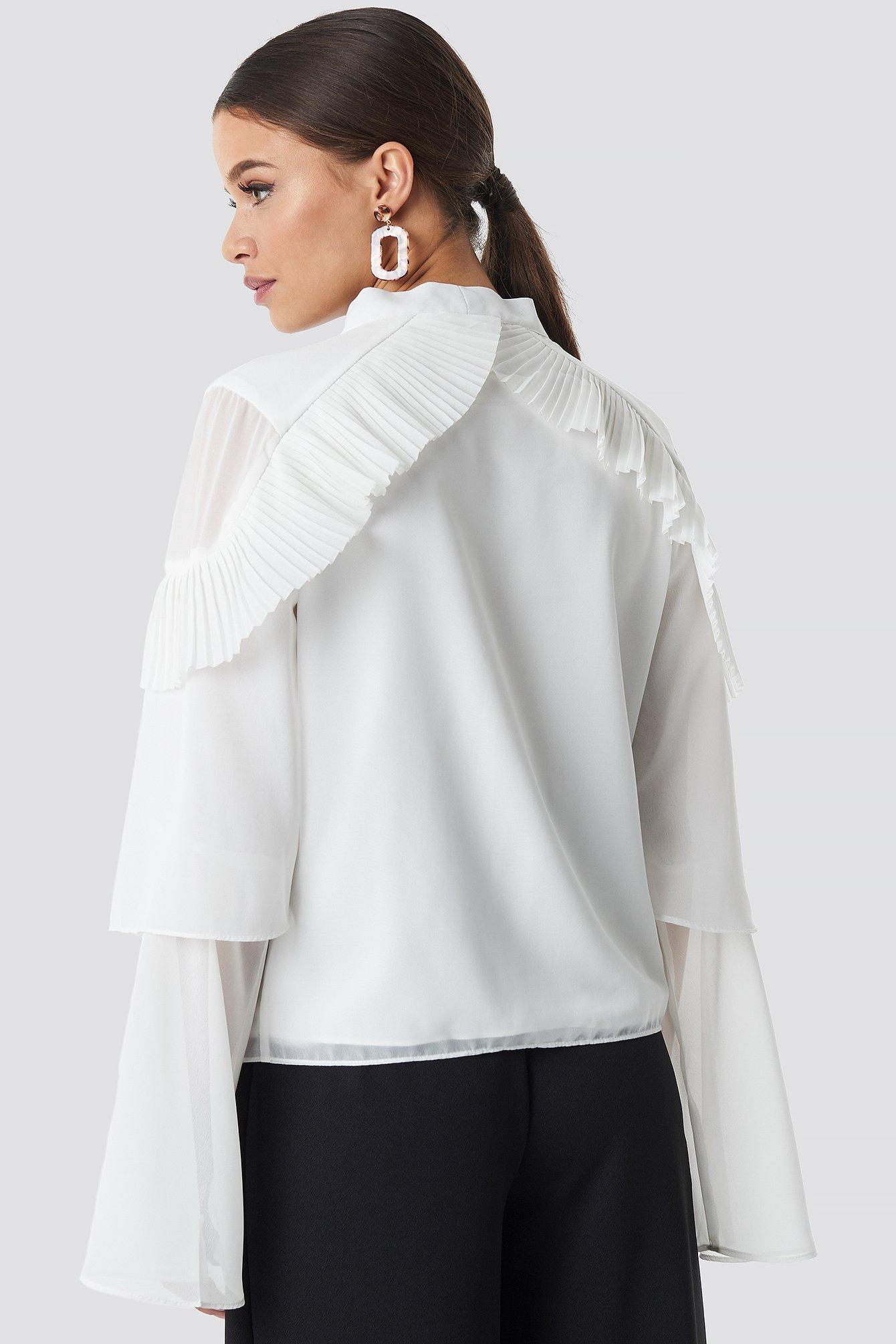 Tie Neck Layered Sleeve Blouse NA-KD.COM