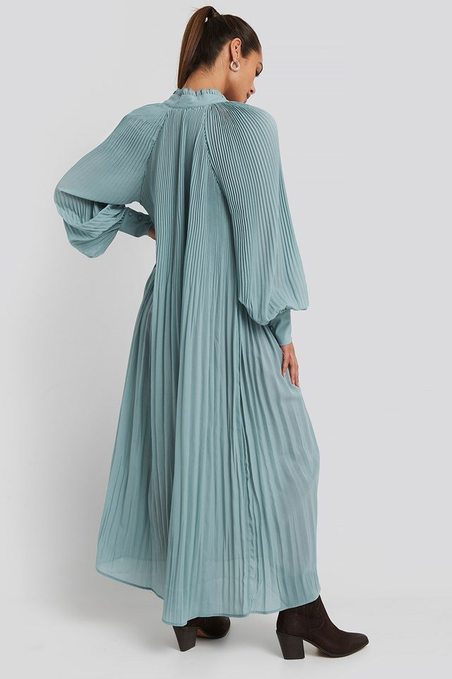 Tie Neck Pleated Dress Dusty Blue