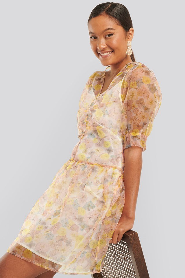 Printed Organza Dress Floral Print