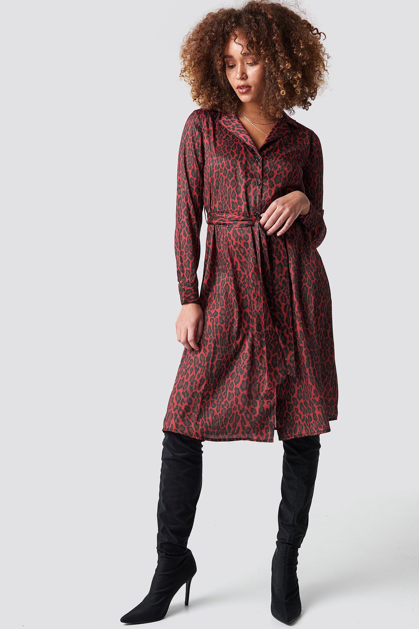 na-kd -  Leopard Tie Satin Dress - Red