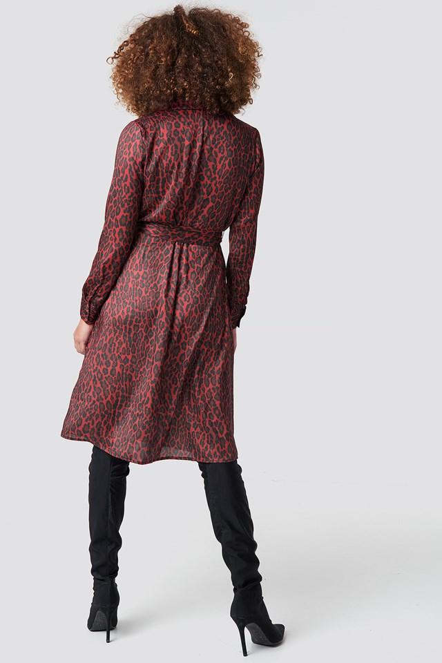 Leopard Tie Satin Dress Red Leopard