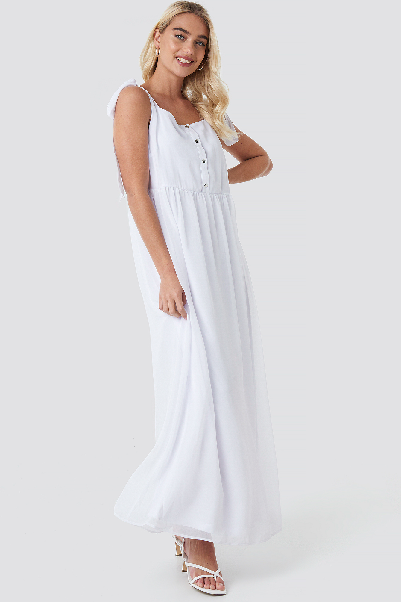 White Tie Shoulder Maxi Dress