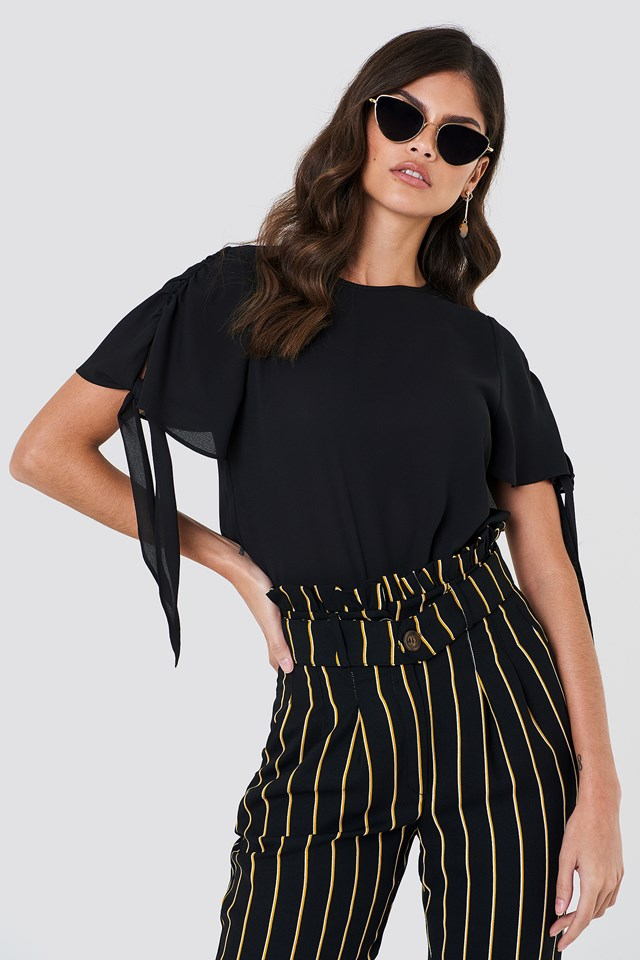 Tie Sleeve Blouse Black