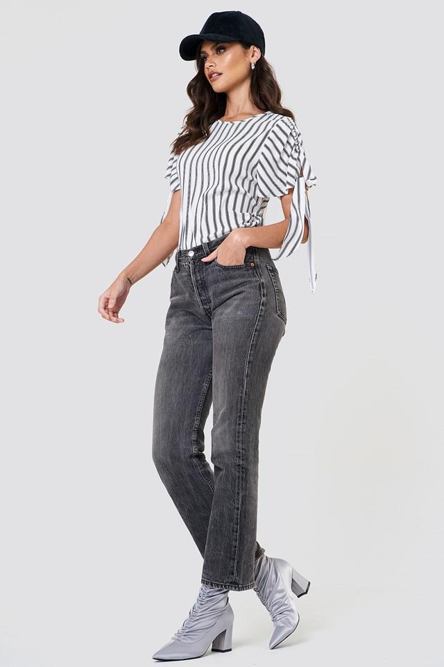 Tie Sleeve Blouse Stripe