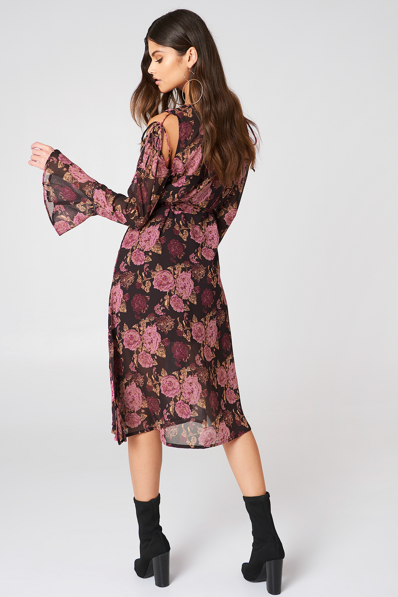 Tie Sleeve Caftan Dress NA-KD.COM