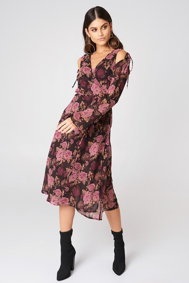 Tie Sleeve Caftan Dress Brown/Pink Flowers