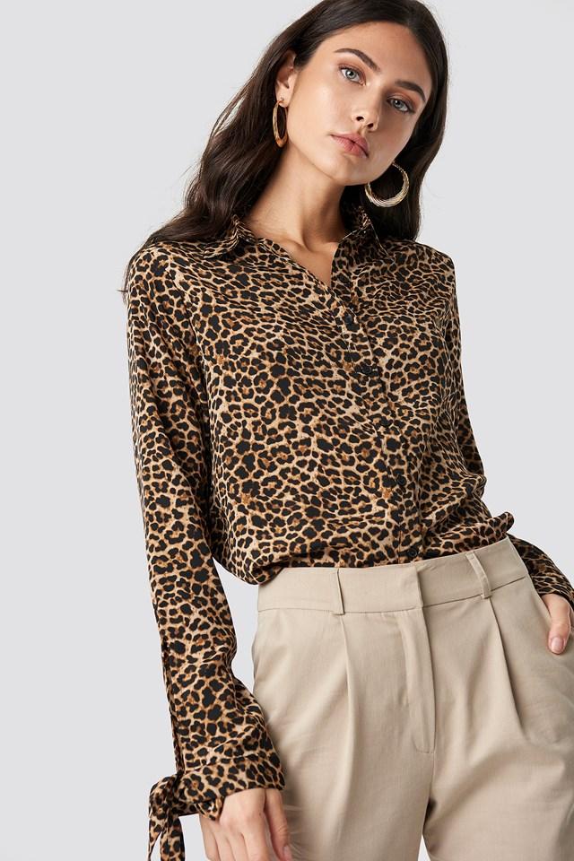 Tie Sleeve Leo Shirt Leoprint