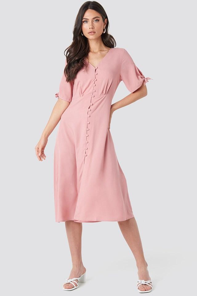 Tie Sleeve Midi Dress Rose