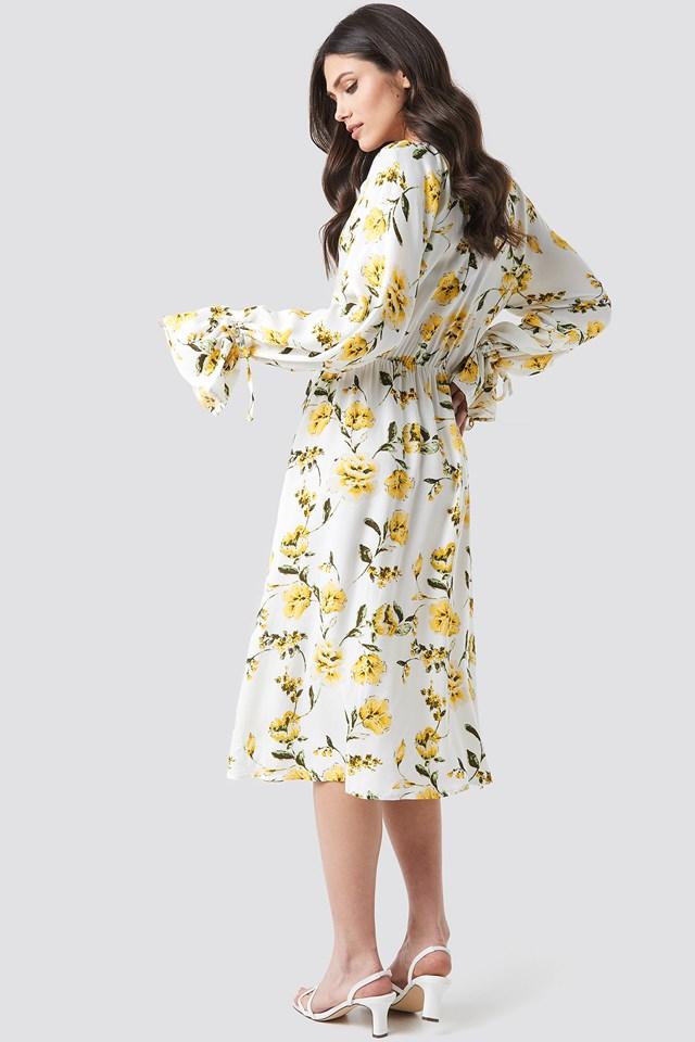 Tie Sleeve Midi Dress Big Flower Print
