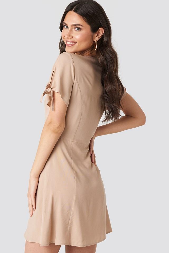 Tie Sleeve Mini Dress Beige