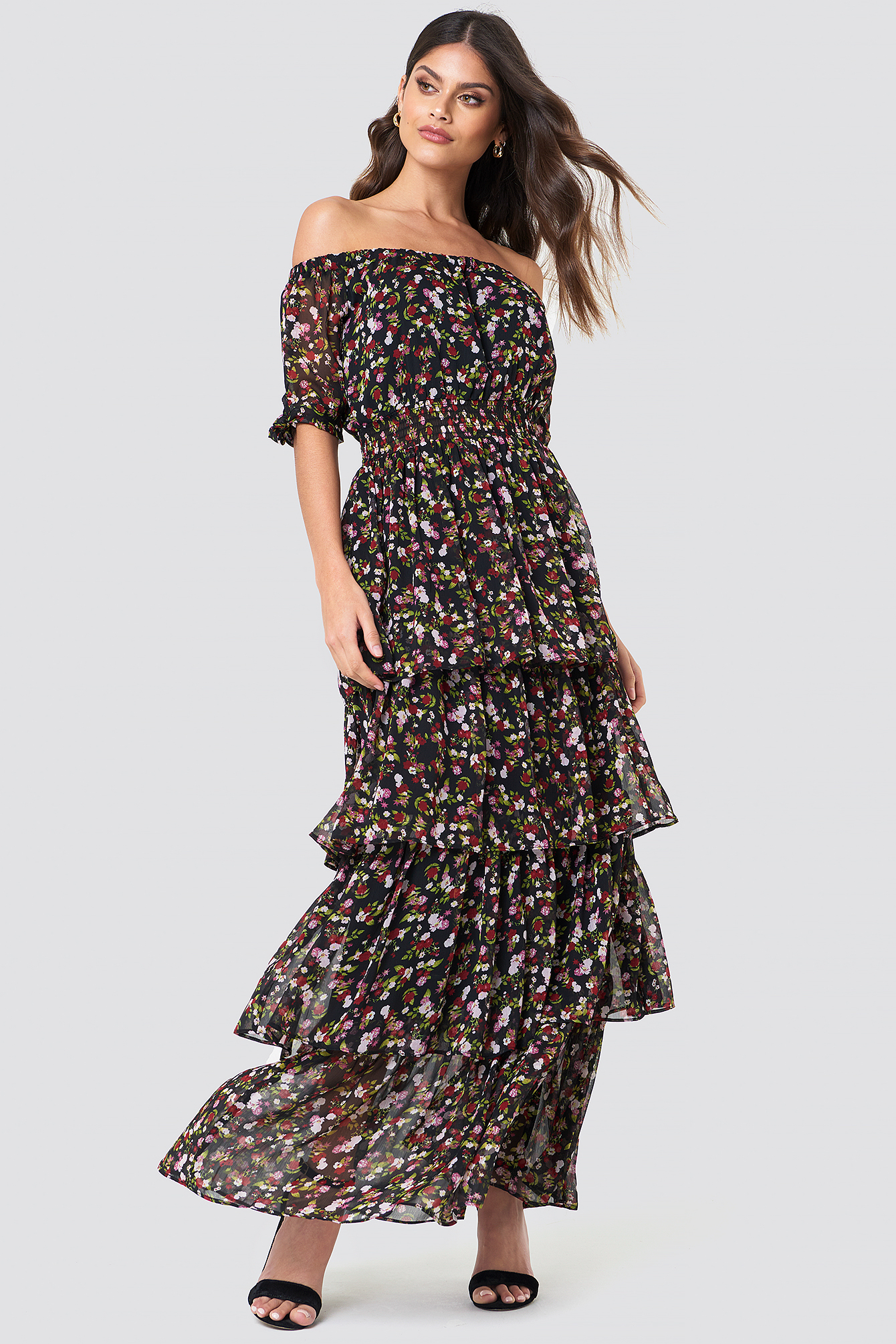 Black/Mixed Flowers Tie Sleeve Off Shoulder Maxi Dress