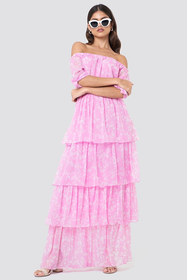 Tie Sleeve Off Shoulder Maxi Dress Pink/White Blossom