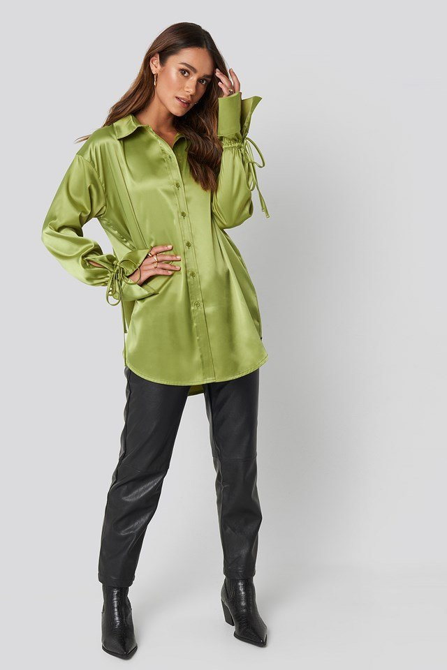 Tie Sleeve Satin Shirt Green