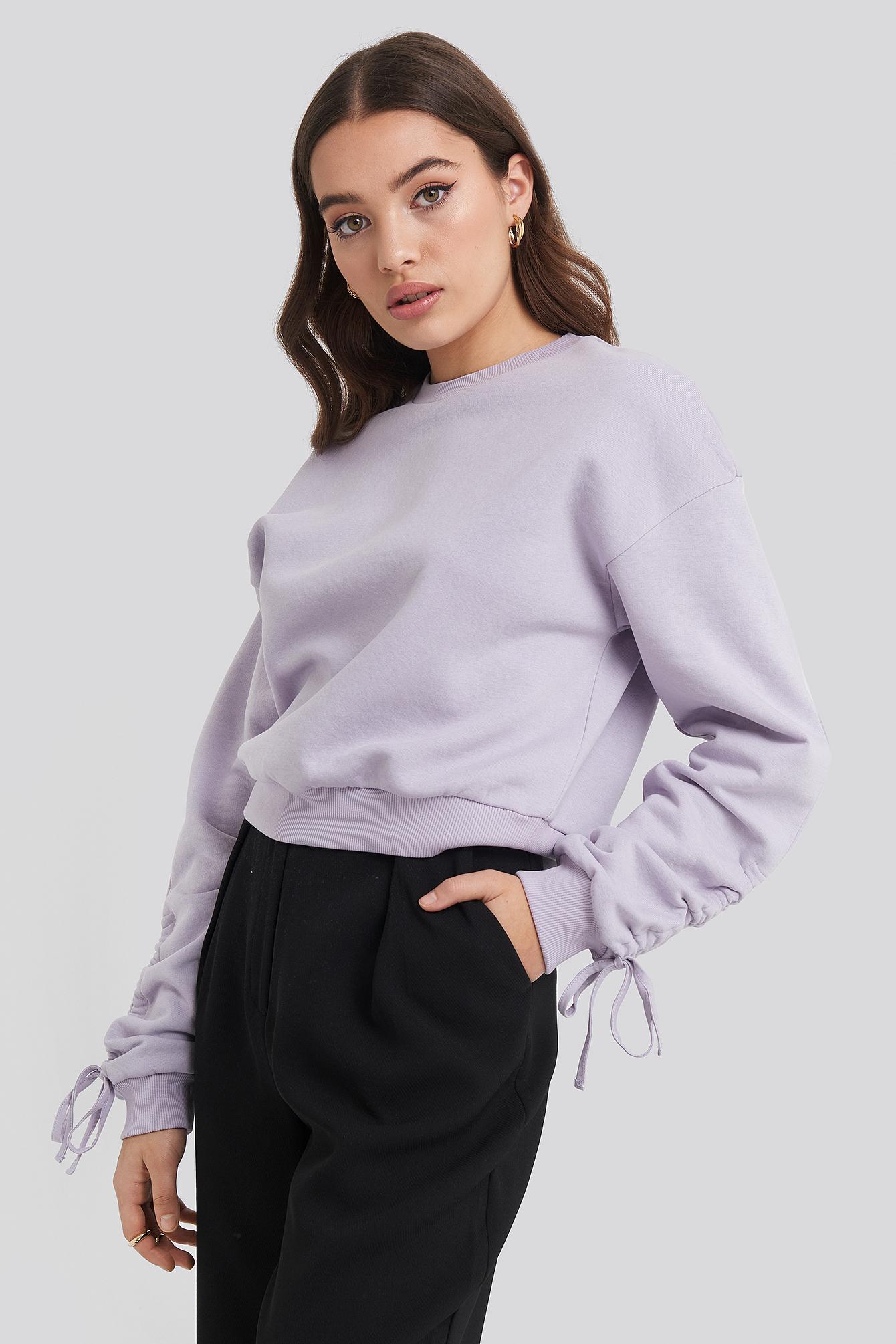 na-kd -  Tie Sleeve Sweatshirt - Purple