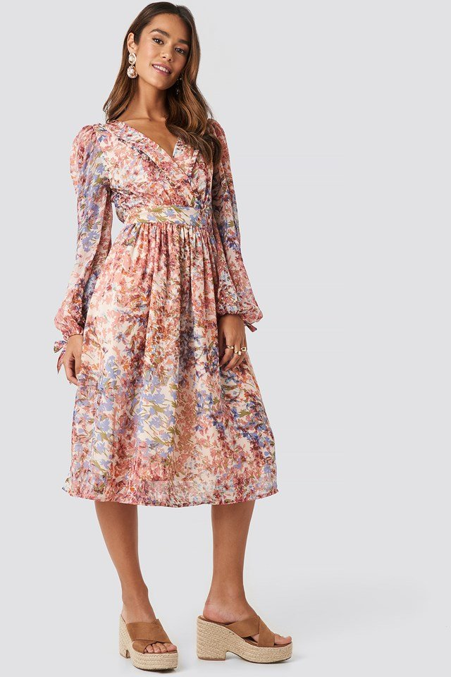 Tie Sleeve Waistband Midi Dress Multi Print