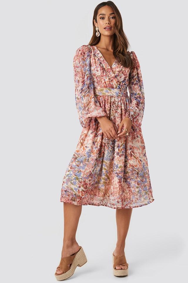 Tie Sleeve Waistband Midi Dress Multi Print