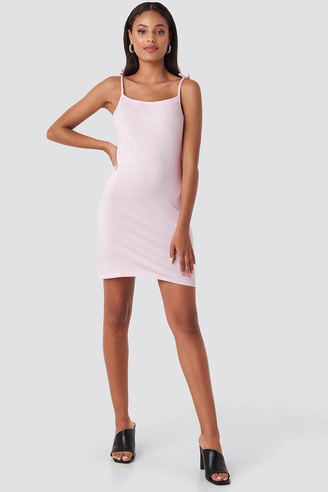 Tie Strap Jersey Mini Dress Pink