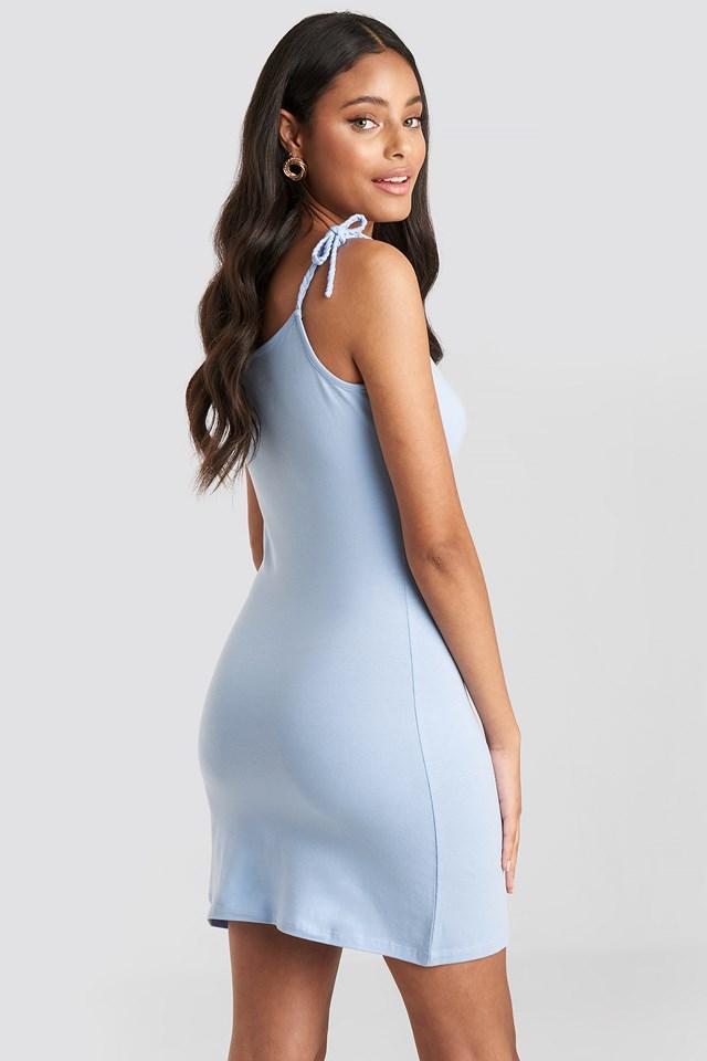 Tie Strap Jersey Mini Dress Dusty Blue