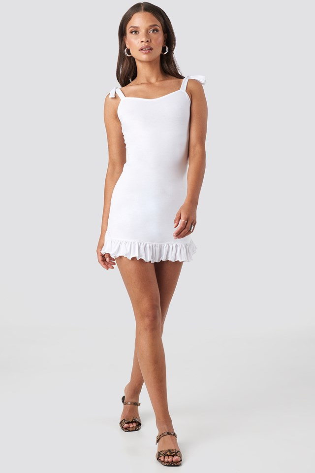 Tie Strap Ruffle Mini Dress White
