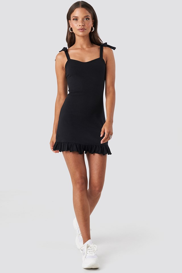 Tie Strap Ruffle Mini Dress Black