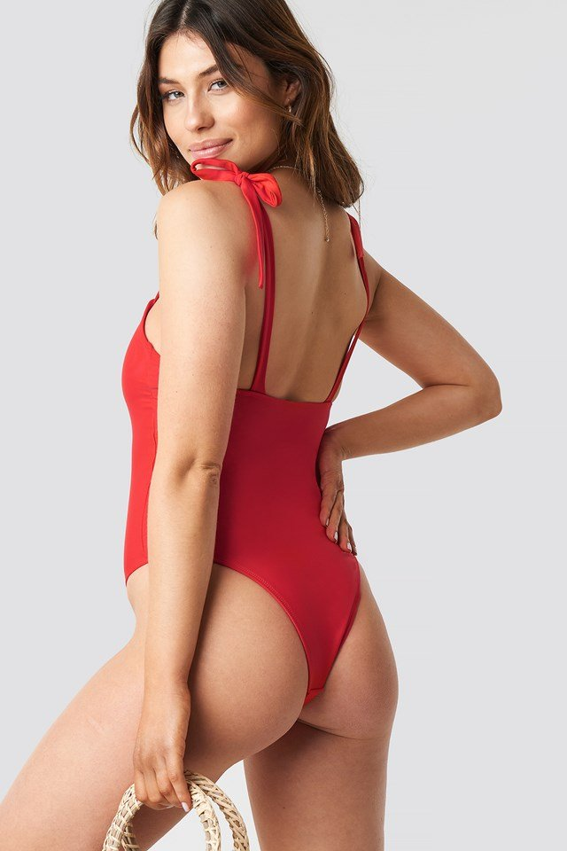Tie Strap Swimsuit Red