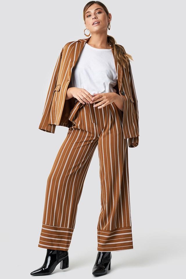 Tie Waist Striped Wide Pants Brown