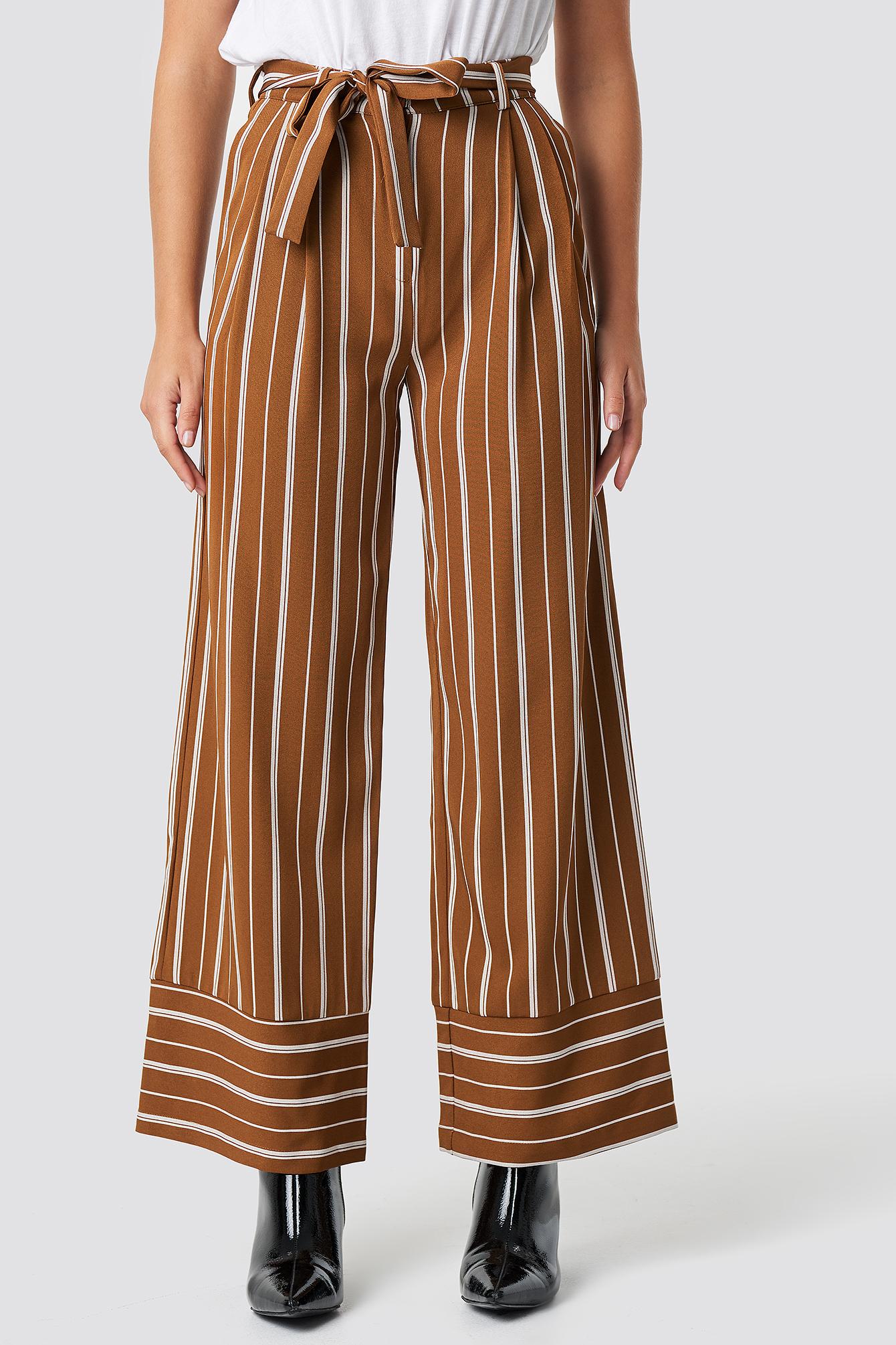 Tie Waist Striped Wide Pants NA-KD.COM