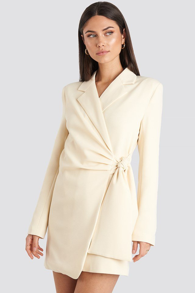 Tie Waist Blazer Dress Cream