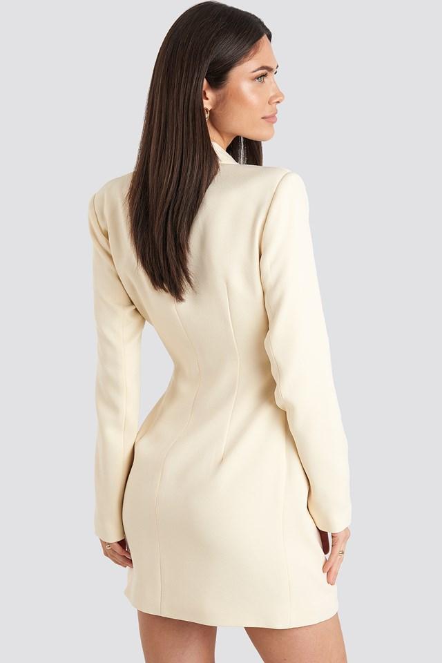Tie Waist Blazer Dress Cream